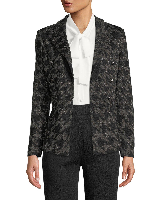 05b4b7c6f11 Misook Plus Size Houndstooth Knit Blazer Jacket In Black Slate ...