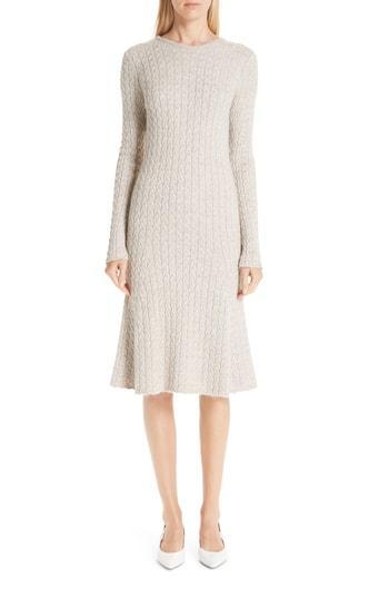 a8dd97f06 Mansur Gavriel Cable-Knit Wool And Silk-Blend Midi Dress In Neutral ...