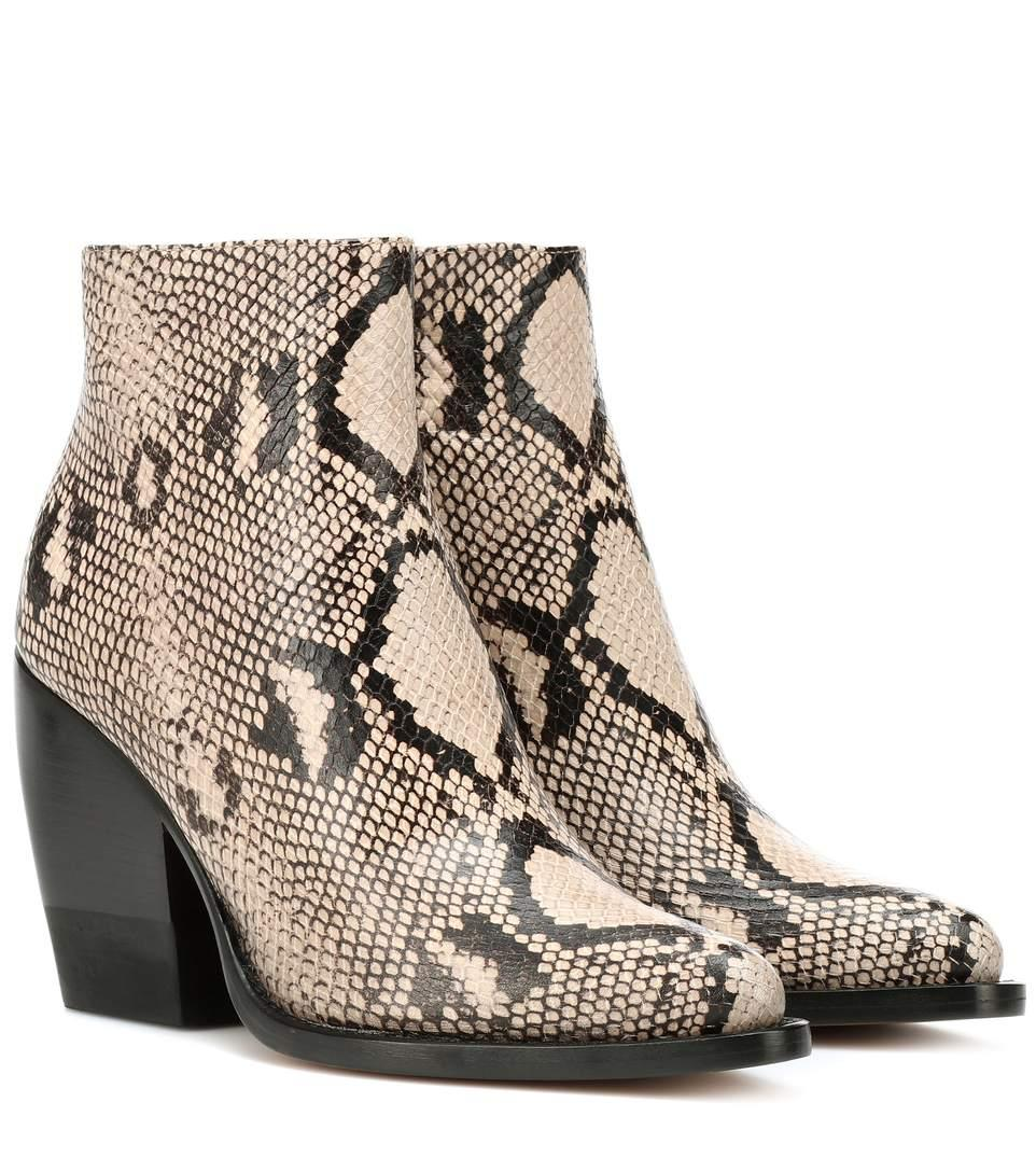 ChloÉ Rylee Snake-effect Leather Ankle Boots In Snake Print