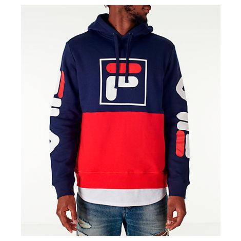 92247e147ef7 Fila Men's Marzio Colorblocked Fleece Hoodie In Navy/Red | ModeSens