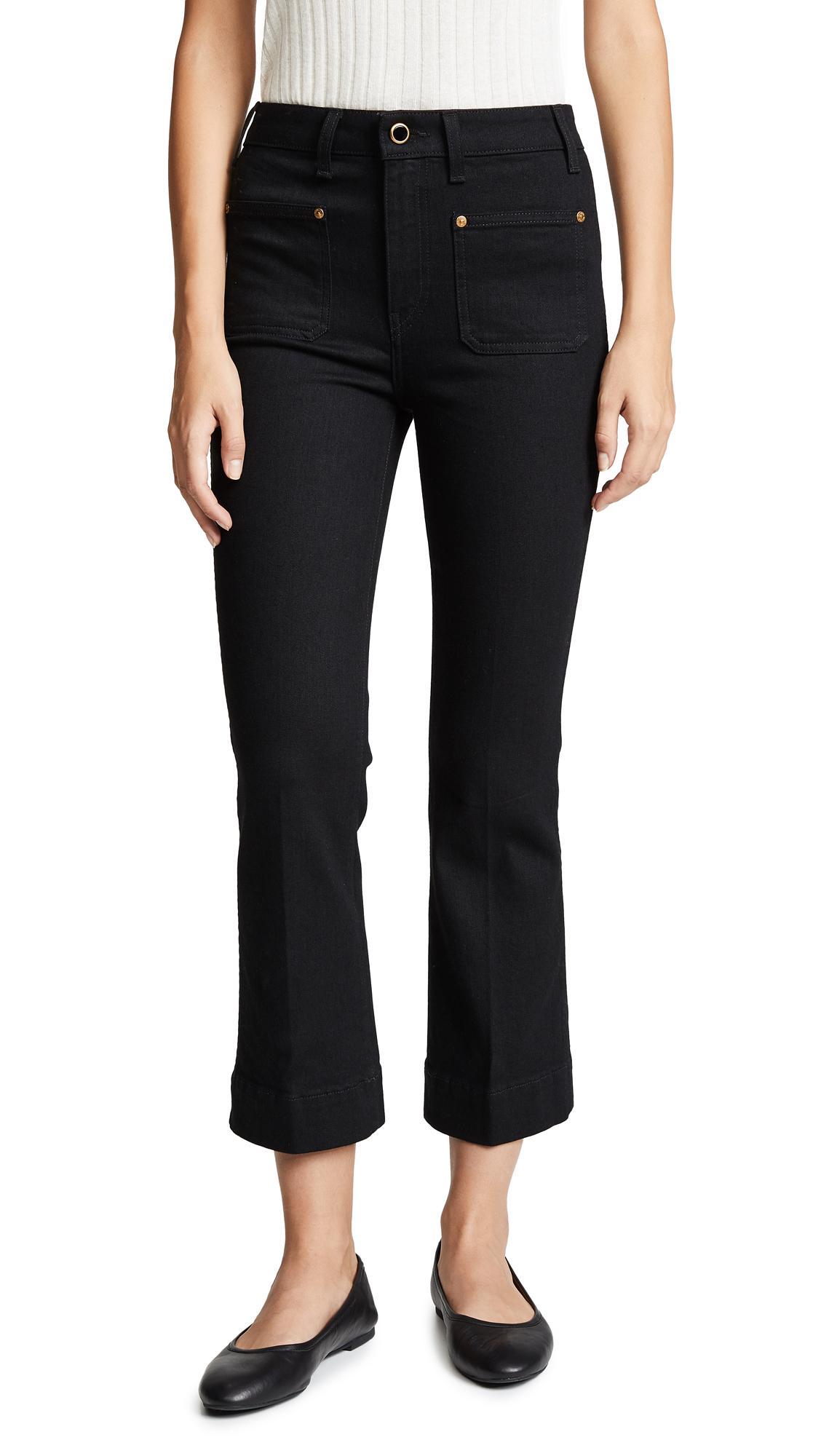 Khaite Raquel Patch Pocket Cropped Flare Jeans In Black