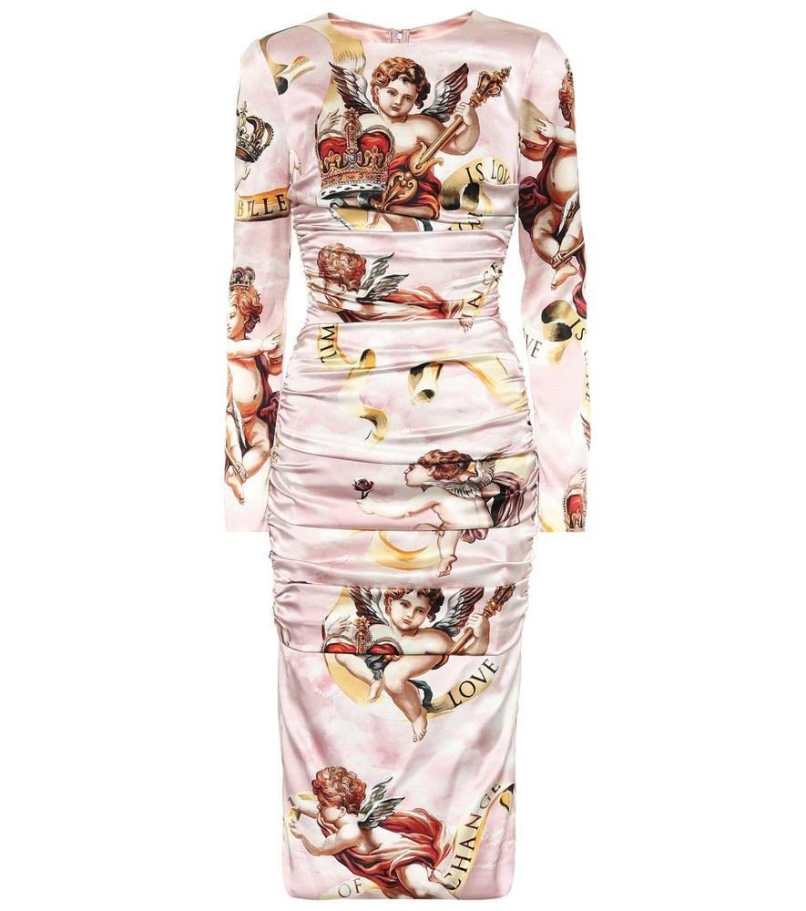 17f8c8e088f4 Dolce & Gabbana Cherub Print Satin Bodycon Dress In Pink   ModeSens