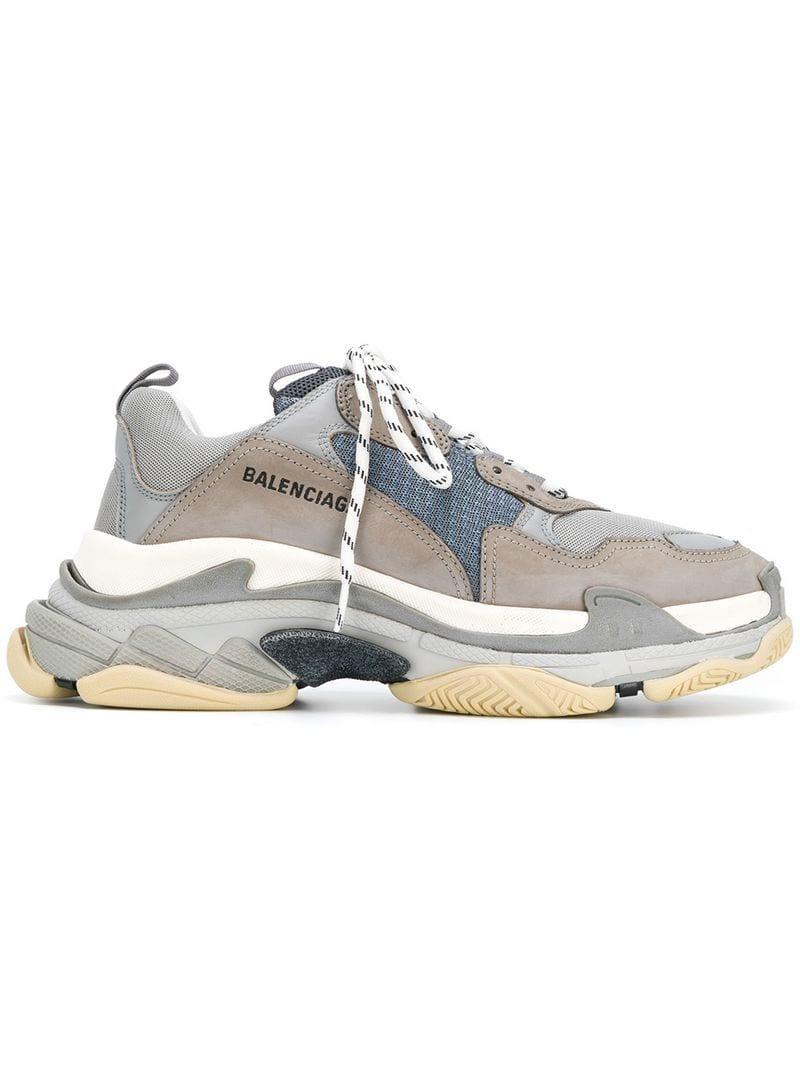 Balenciaga Low-Top Sneakers Triple S Mesh Nubuck Logo Blue Grey Light Grey