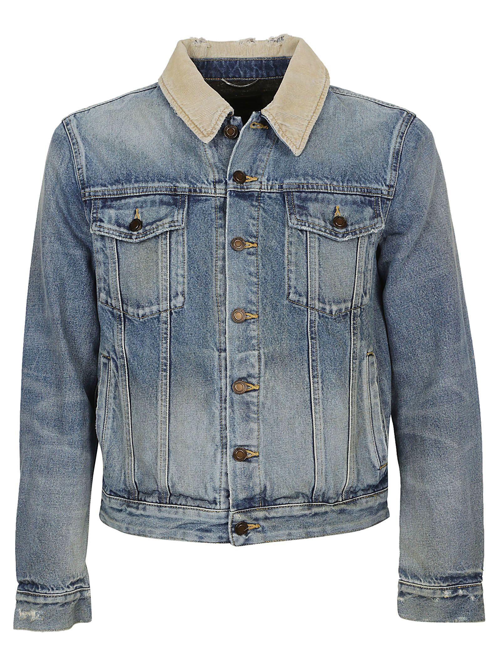 0d83b80509 Saint Laurent Corduroy Collar Denim Jacket Rusty Light Blue | ModeSens