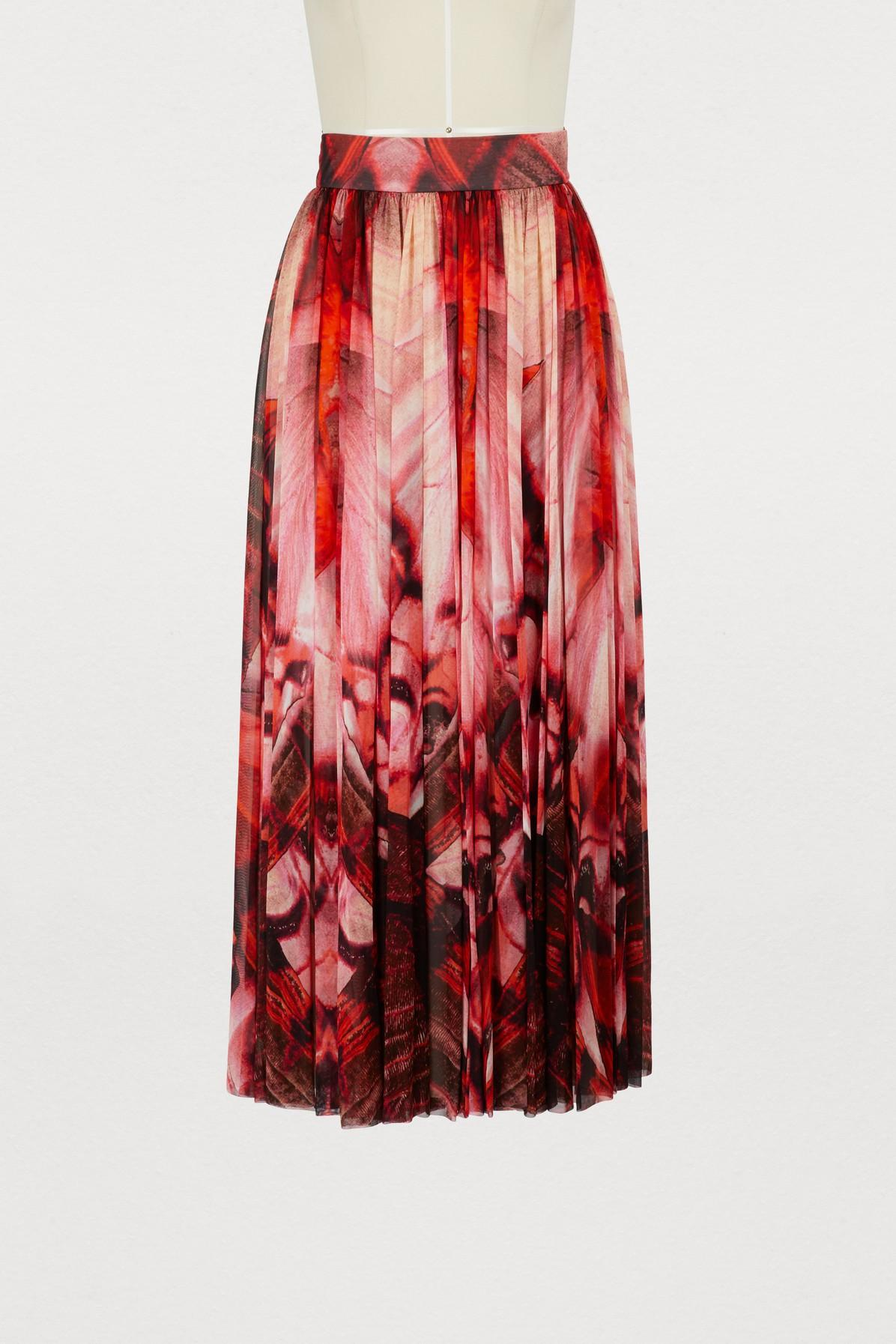 aa6ac494514f Alexander Mcqueen Butterfly-Printed CrÊPe Skirt In Red | ModeSens