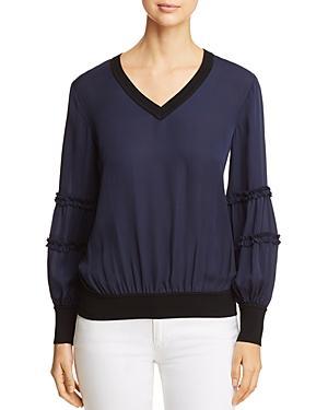 ac78f18198ac7 Kobi Halperin Carlena Silk Blouse W  Merino Wool In Midnight Blue ...