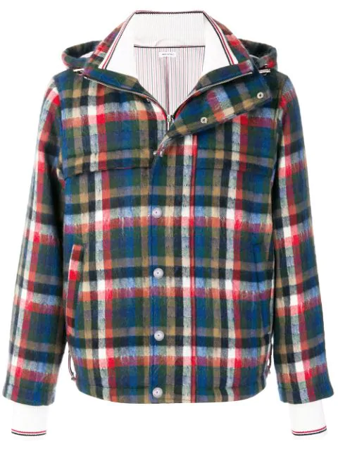 Thom Browne Gingham Tartan Down-filled Hairy Mohair Tech Jacket - Multicolour
