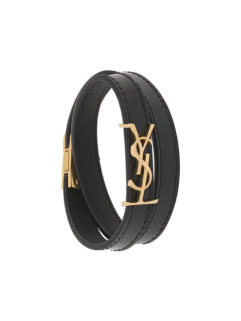 Saint Laurent Logo Double Ysl Glove Patent Bracelet In Black