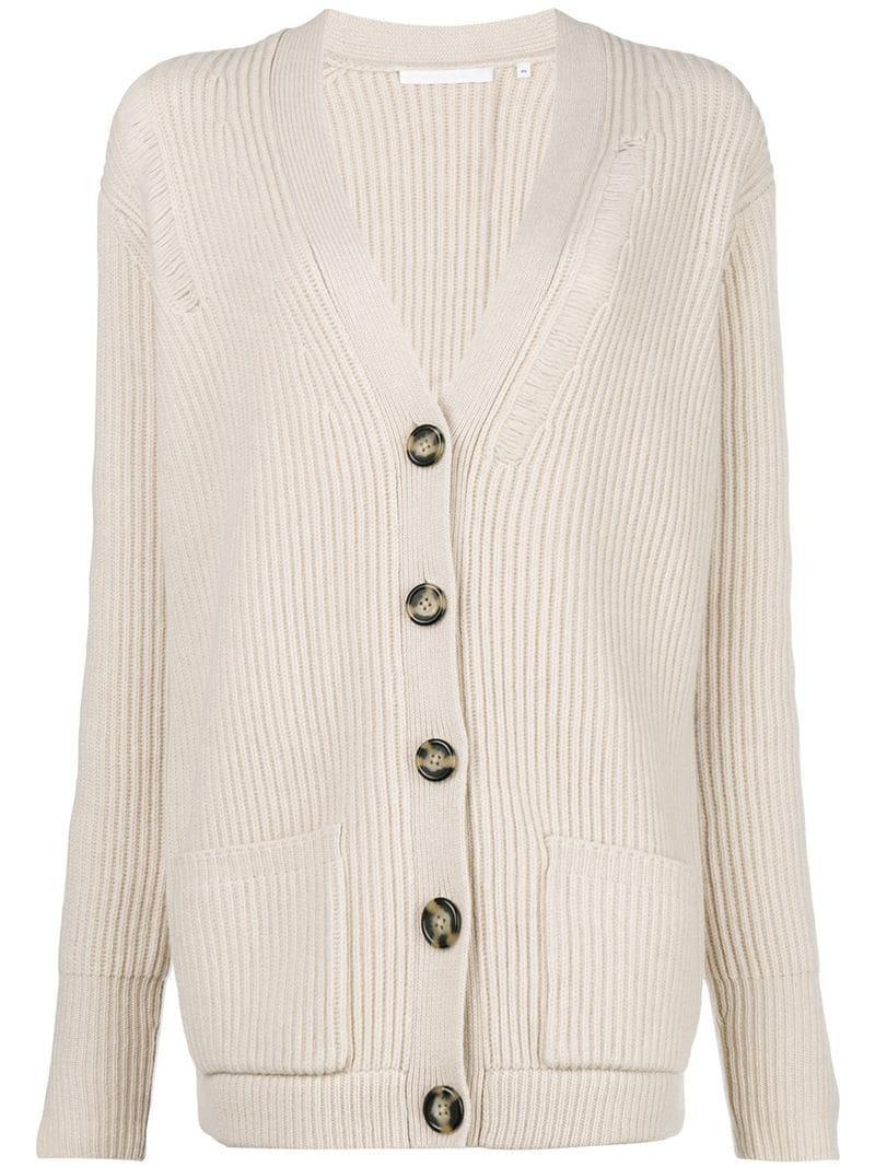 Helmut Lang Distressed Wool Oversized Cardigan - Beige 995612fdd