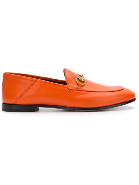Gucci Brixton Collapsible-heel Leather Loafers In Orange