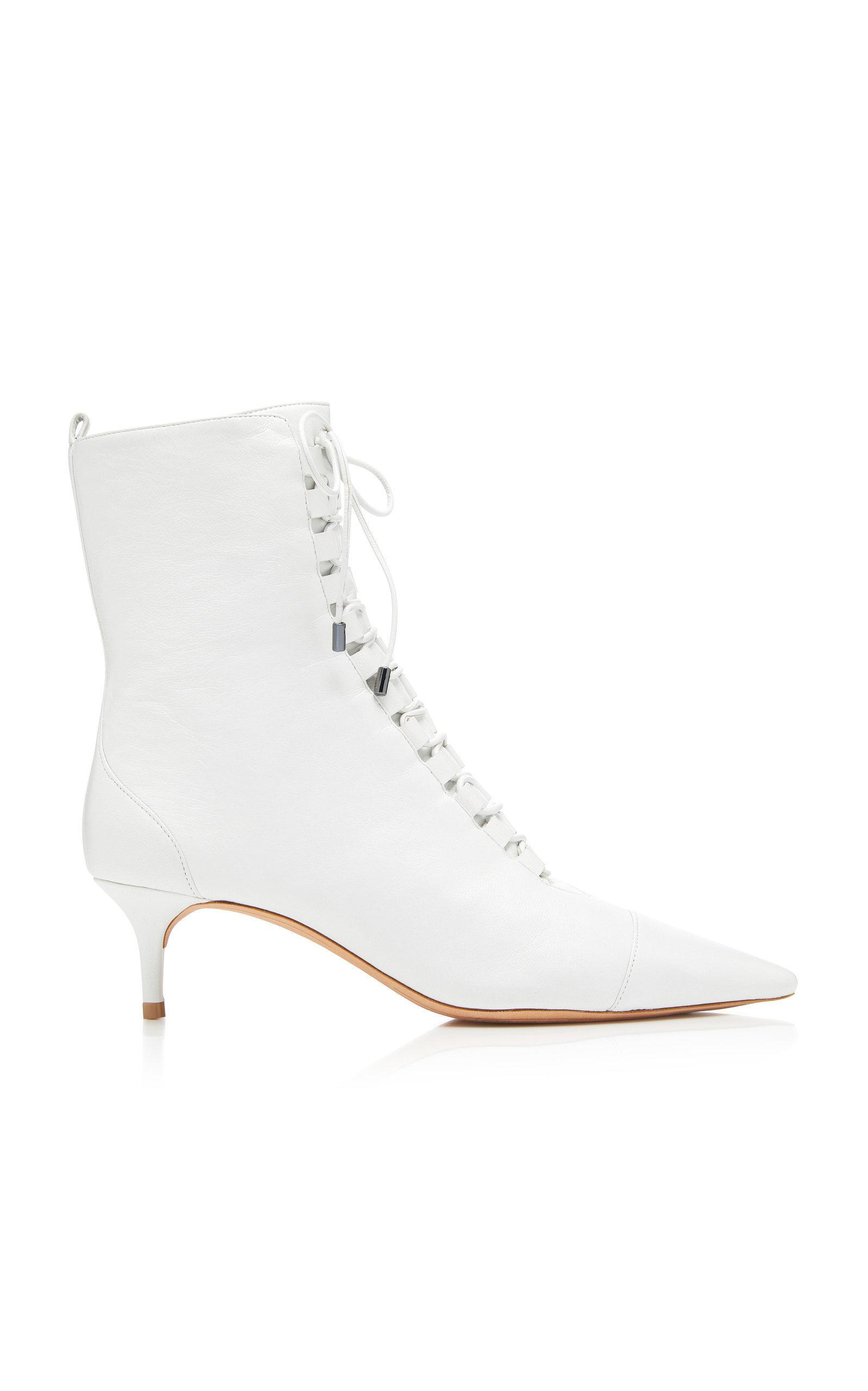 663617336485 Alexandre Birman Millen Lace-Up Leather Ankle Boots In White