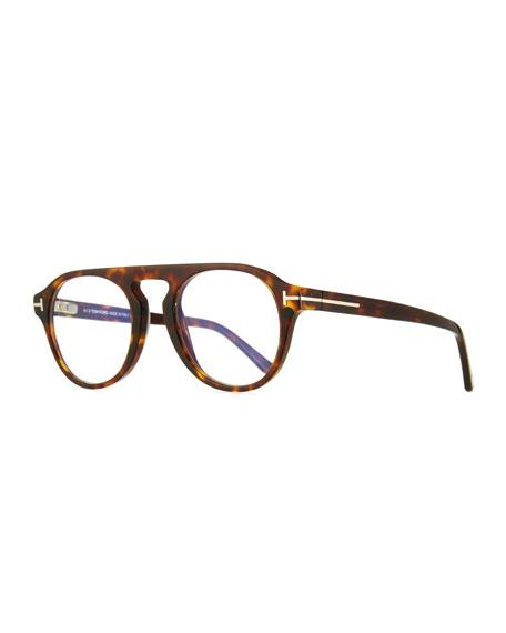 f6b81cdaca Tom Ford Men s Square Optical Glasses W  Magnetic Clip On Blue Block Lenses  In Black
