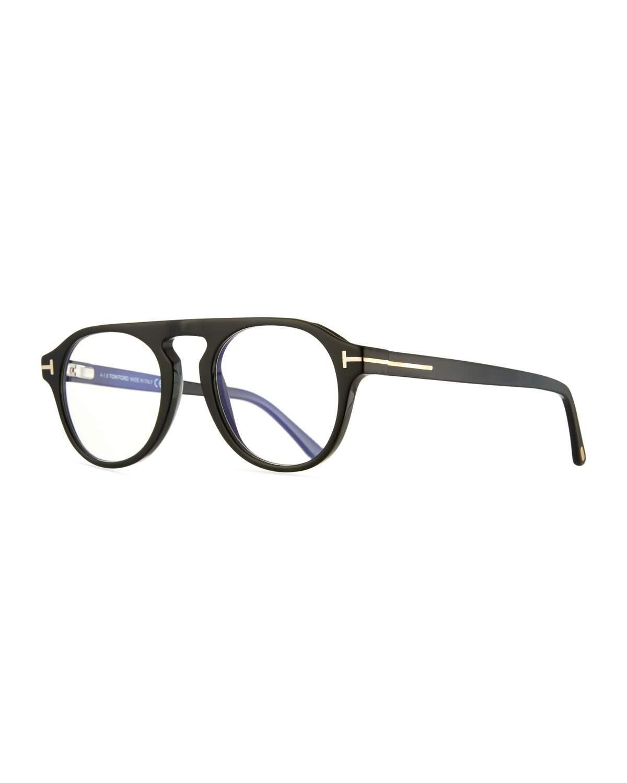 d0c4e2aa6e18 Tom Ford Men's Square Optical Glasses W/ Magnetic Clip On Blue Block Lenses  In Black