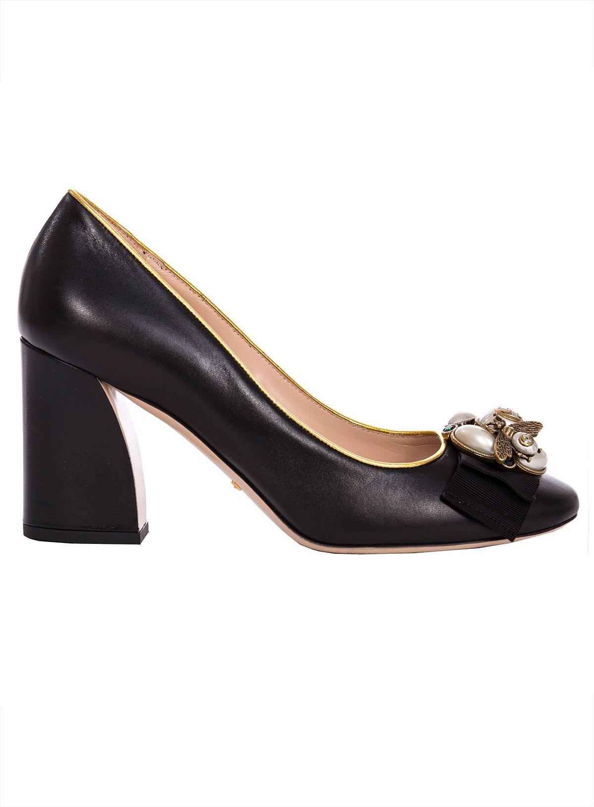 fc54d8907 Gucci Leather Mid-Heel Pump With Bee In Black | ModeSens