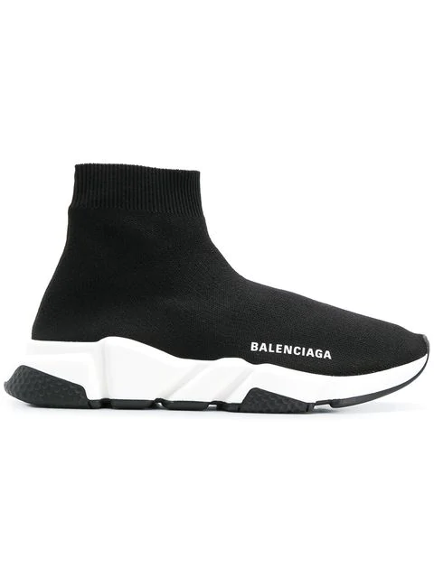 Balenciaga Speed Mid-top Trainer Sock Sneakers, Toddler/kids In Black