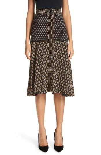 b384d9e95a Proenza Schouler Floral Cady Flared Midi-Skirt - Black, White | ModeSens