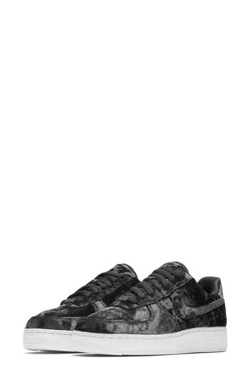 best cheap ac9e0 41e8f Nike Air Force 1 Metallic Faux Leather-Trimmed Crushed-Velvet Sneakers In  Anthracite