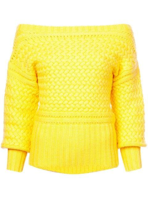 a3555c0b1c9b Tanya Taylor Marie Cable-Knit Off-Shoulder Sweater In Yellow