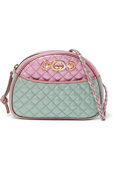 2326206a0 Gucci Trapuntata Mini Quilted Metallic Leather Crossbody Bag In Pink ...