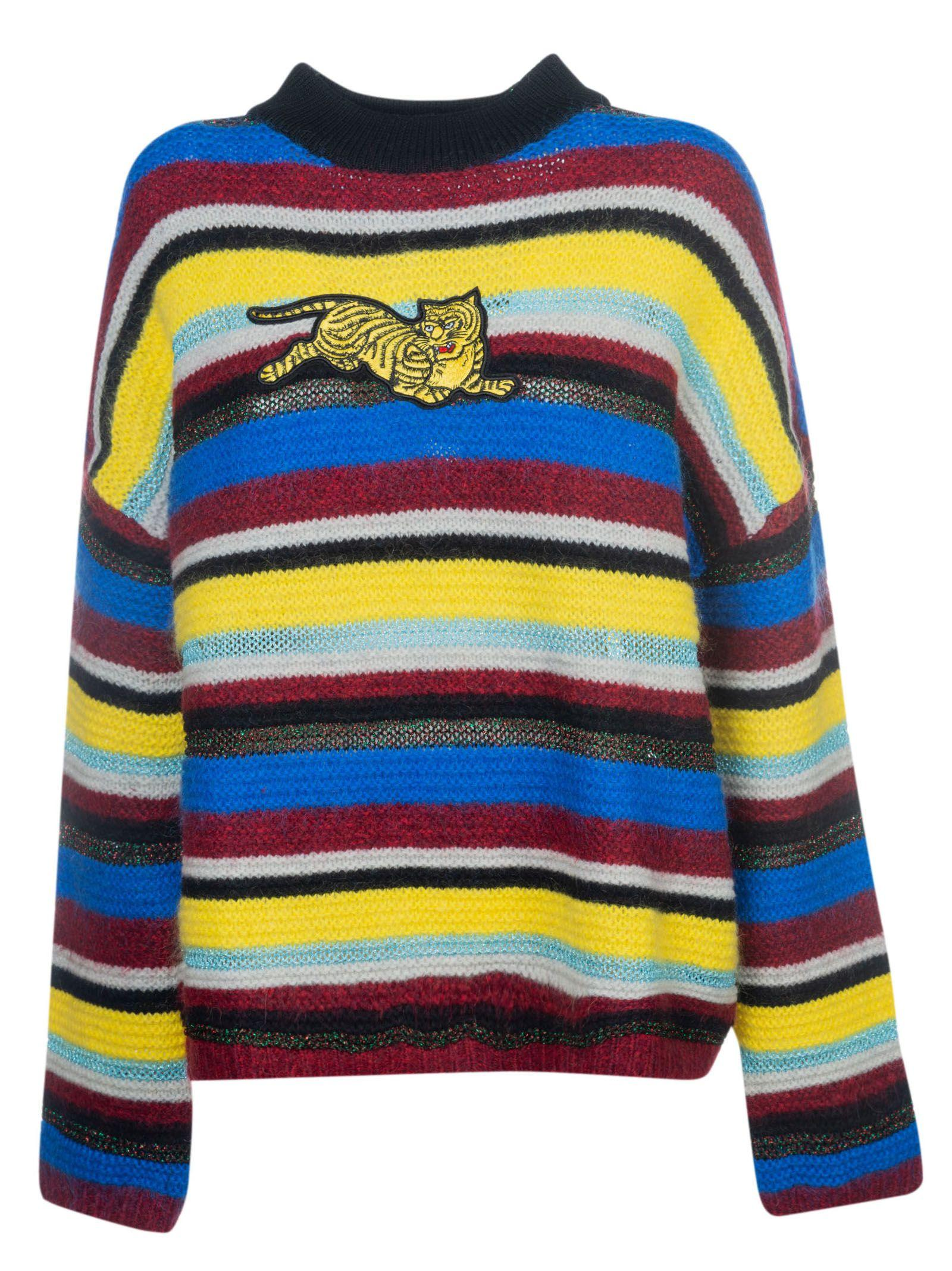 3f305dff15a6e Kenzo Jumping Tiger AppliquÉD Striped Wool-Blend Sweater In Yellow ...