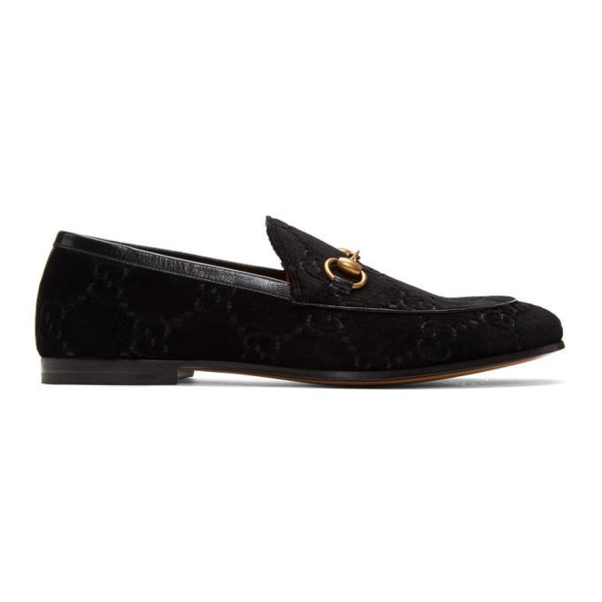 Gucci New Jordaan Horsebit Leather-Trimmed Logo-Embroidered Velvet Loafers In 1000 Black