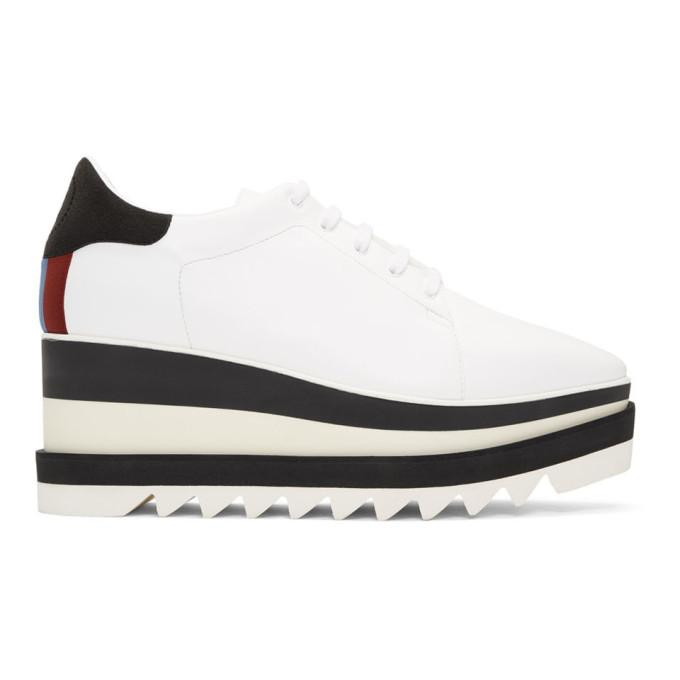 Stella Mccartney Elyse Logo-perforated Faux Leather And Suede Platform Brogues In White ,multicolour