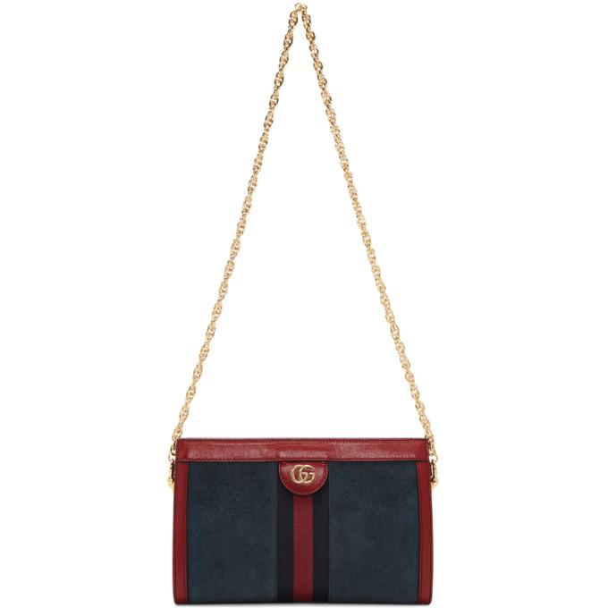 282296ff58 GUCCI BLUE SMALL SUEDE OPHIDIA CHAIN BAG