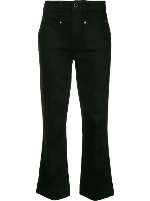 Khaite Raquel Patch Pocket Cropped Flare Jeans In 036 Black