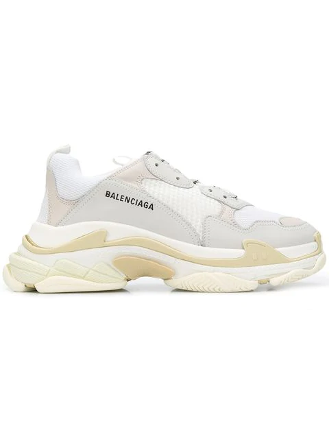 Balenciaga Men's Triple S Mesh & Leather Sneakers, White In 9000 Blanc
