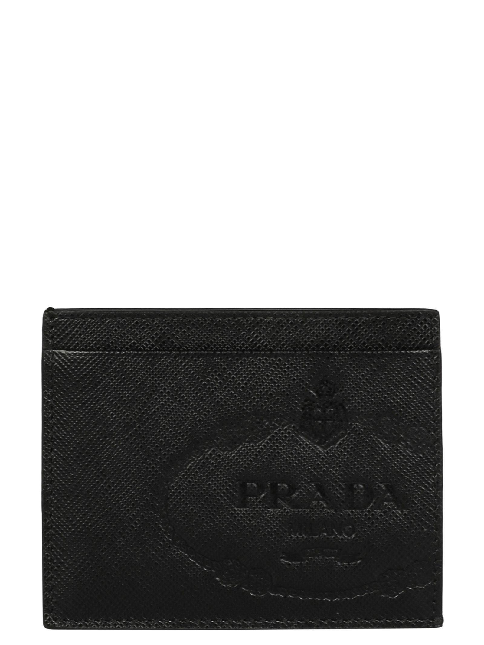 8253638dd9f7 Prada Logo-Debossed Saffiano-Leather Cardholder In Black   ModeSens