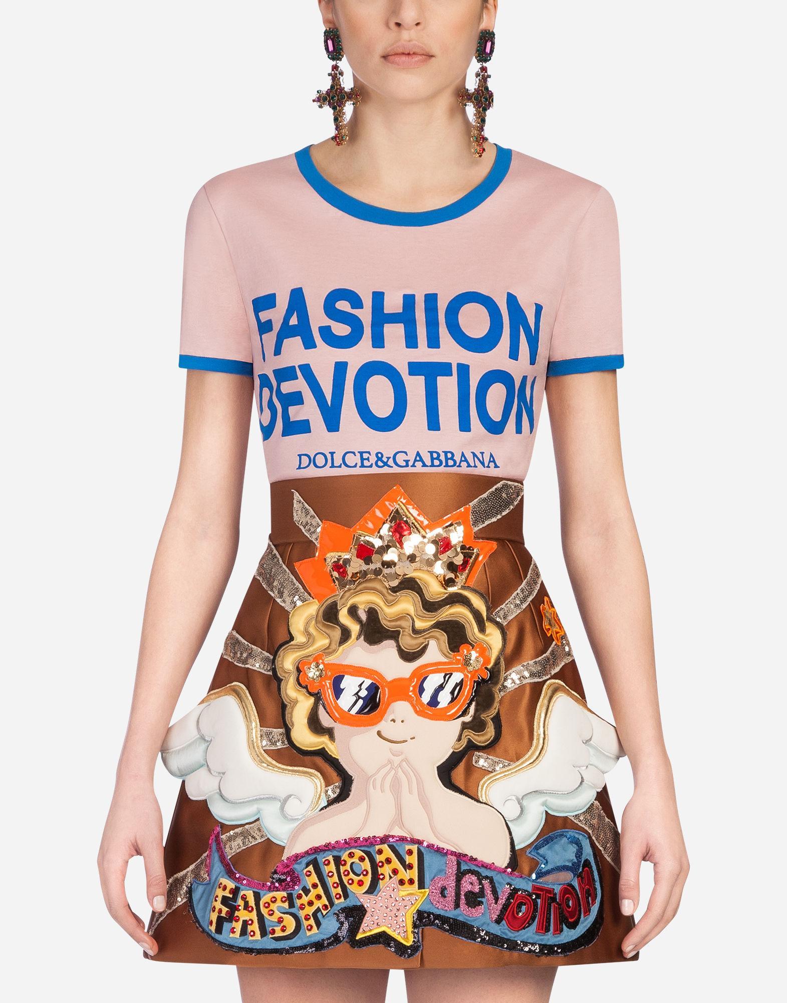 Dolce & Gabbana Fashion Devotion Printed Jersey T-shirt In Pink
