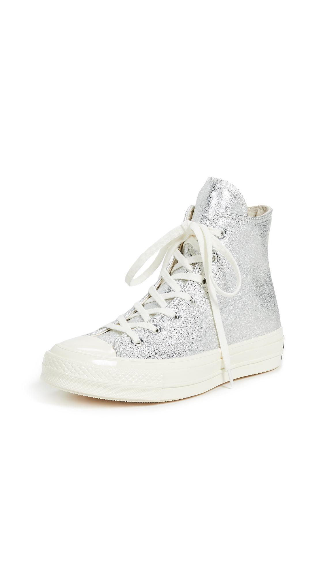 856a5cb2c97d Converse Women s Chuck Taylor All Star 70 Metallic High Top Sneakers In  Silver Egret