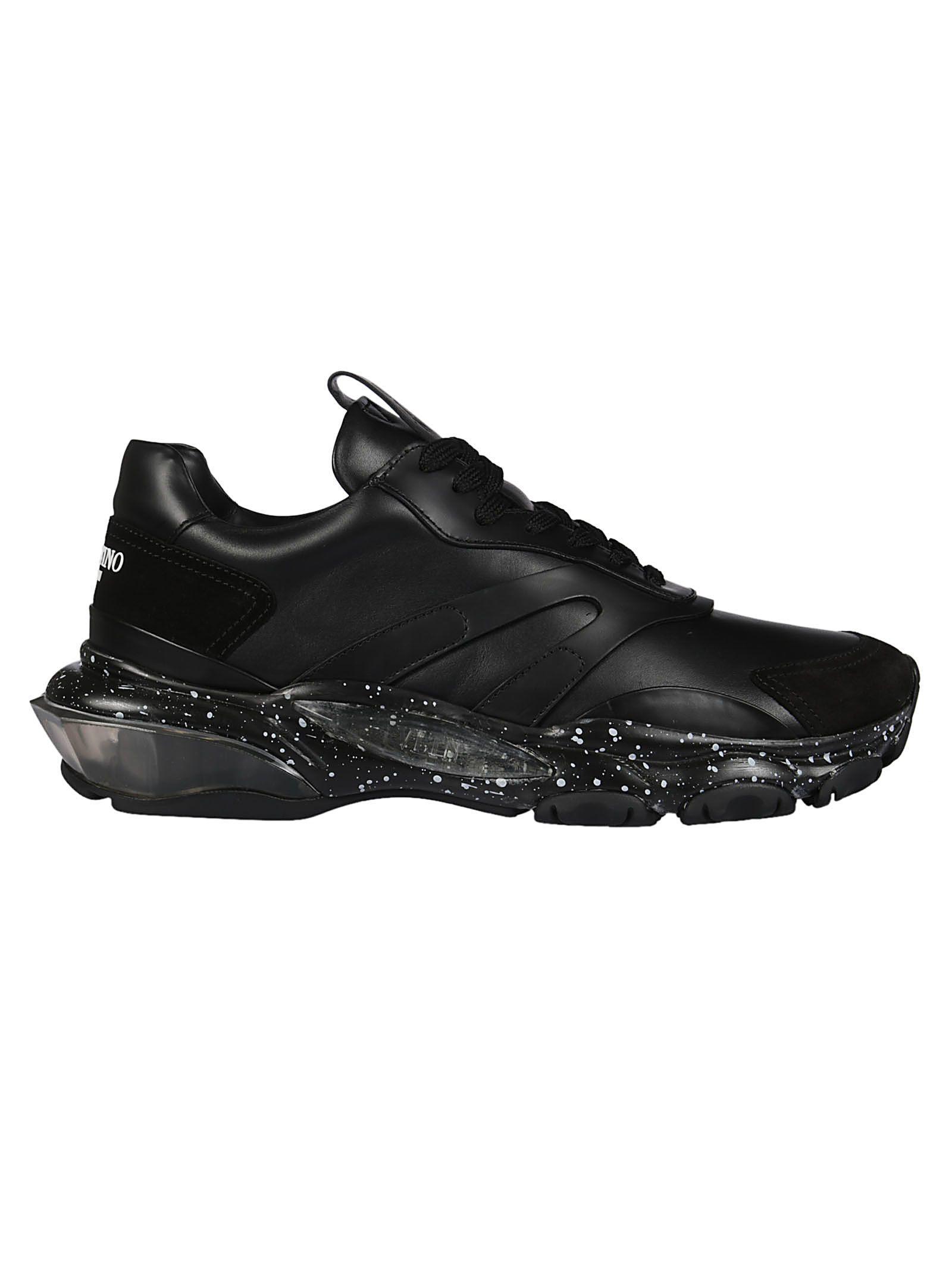 fdc7cb0f56922 Valentino Garavani Bounce Suede-Trimmed Leather Sneakers - Black ...