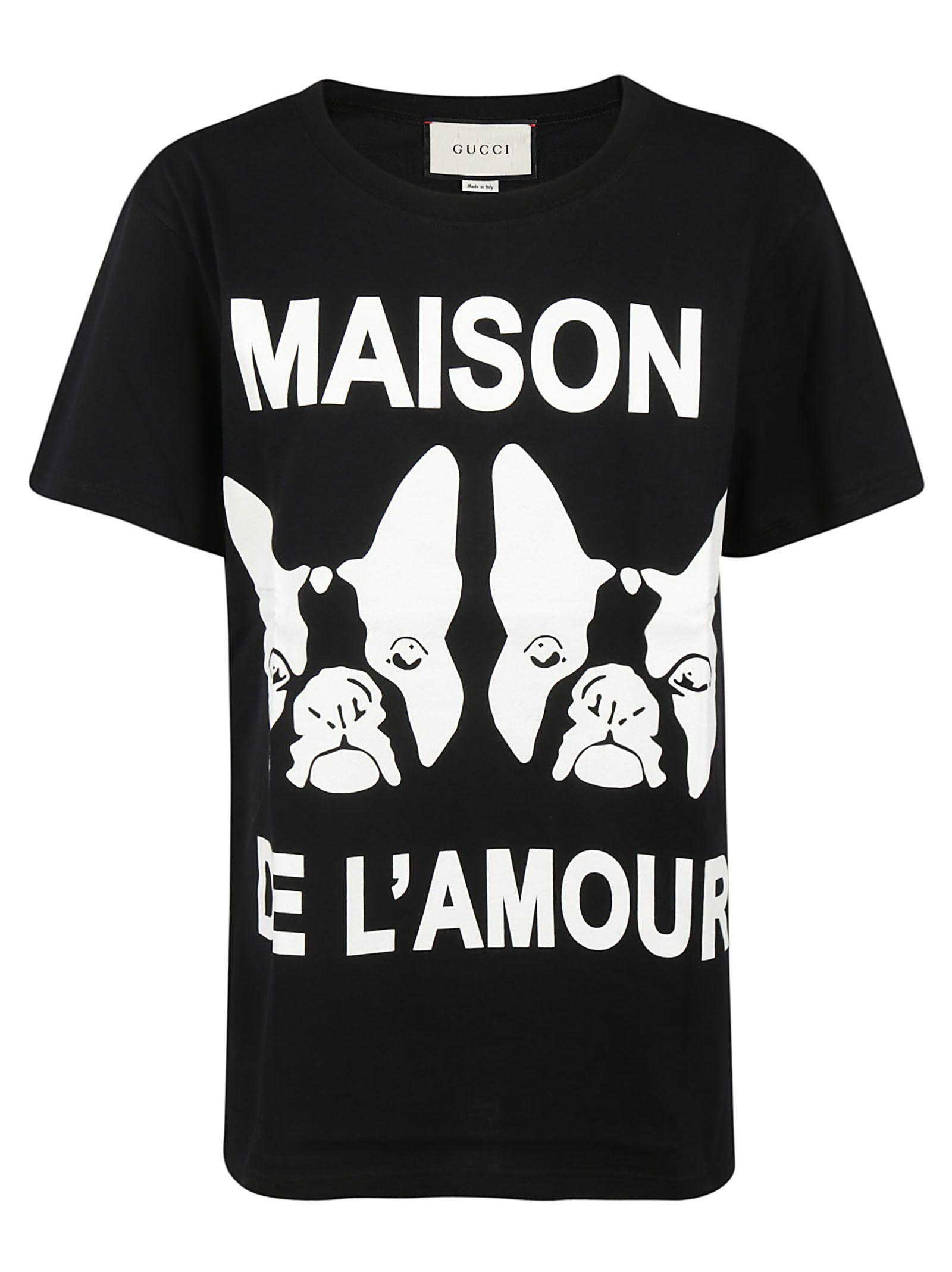 c3b03dccb Gucci Maison De L'Amour Cotton Jersey T-Shirt In Black | ModeSens