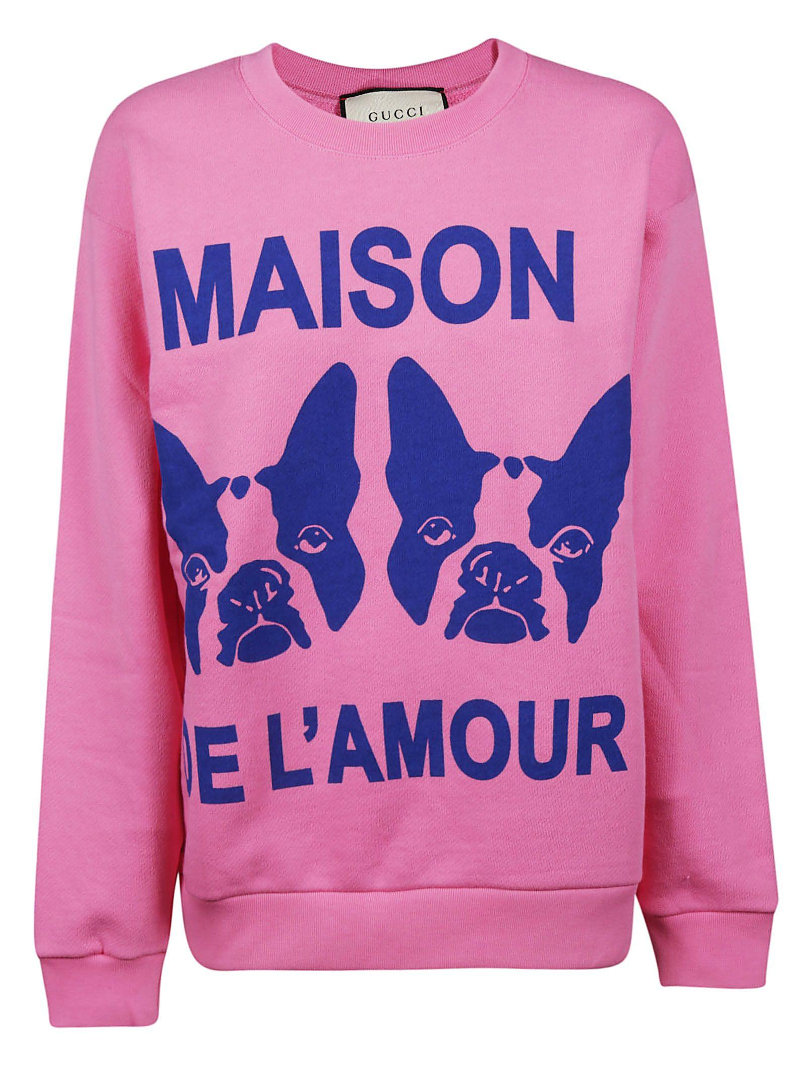 95978257aabb Gucci Orso And Bosco Heavy Felt Oversized Cotton Sweatshirt W/ Beaded Guccy  In Pink