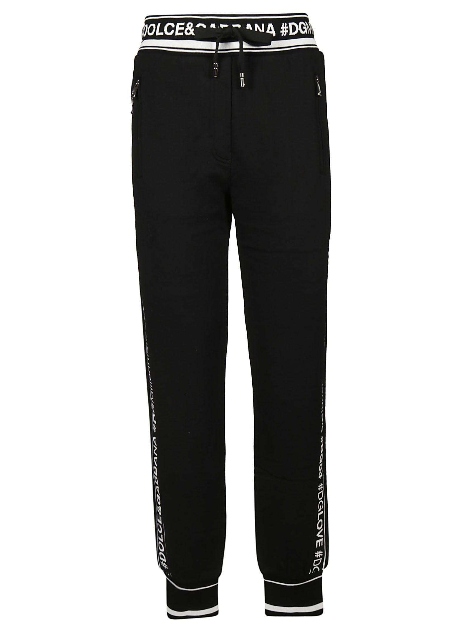 d28d67a4 Dolce & Gabbana Logo-Striped Cotton French Terry Sweatpants In Black ...