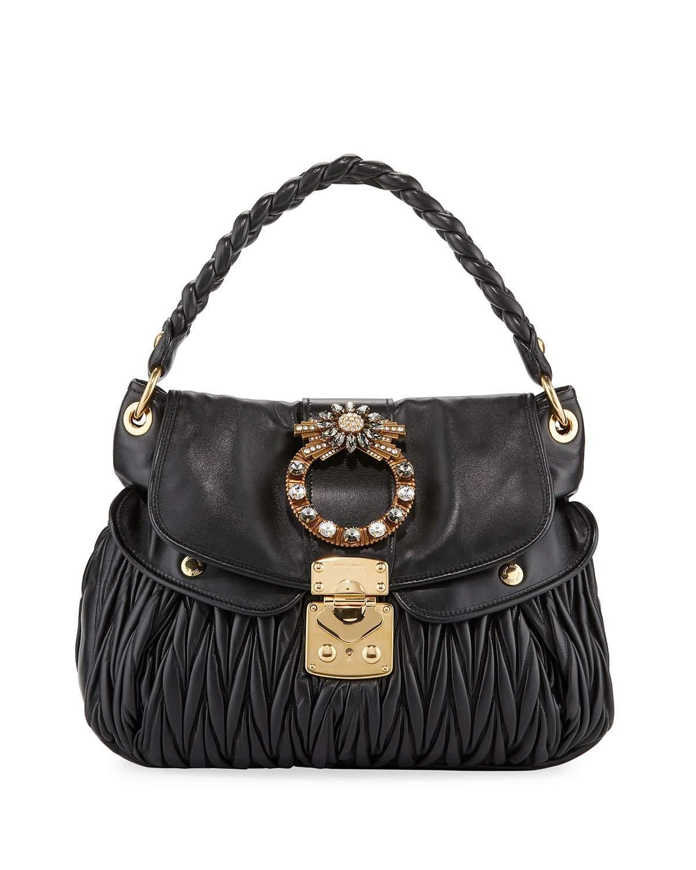 60d57aae6e68 Miu Miu Matelasse Lambskin Leather Shoulder Bag - Black