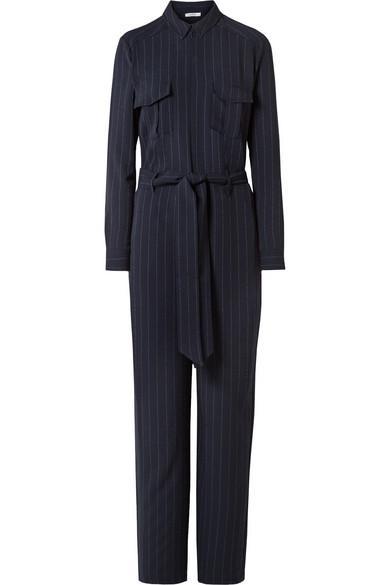 50d380861760 Ganni Clark Pinstriped Crepe Jumpsuit In Midnight Blue