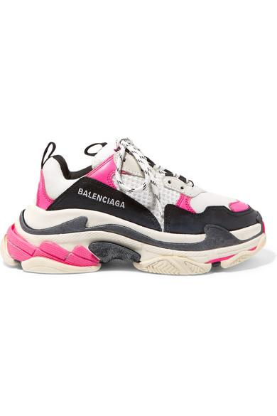 Balenciaga Triple S Logo-embroidered Leather, Nubuck And Mesh Sneakers In White