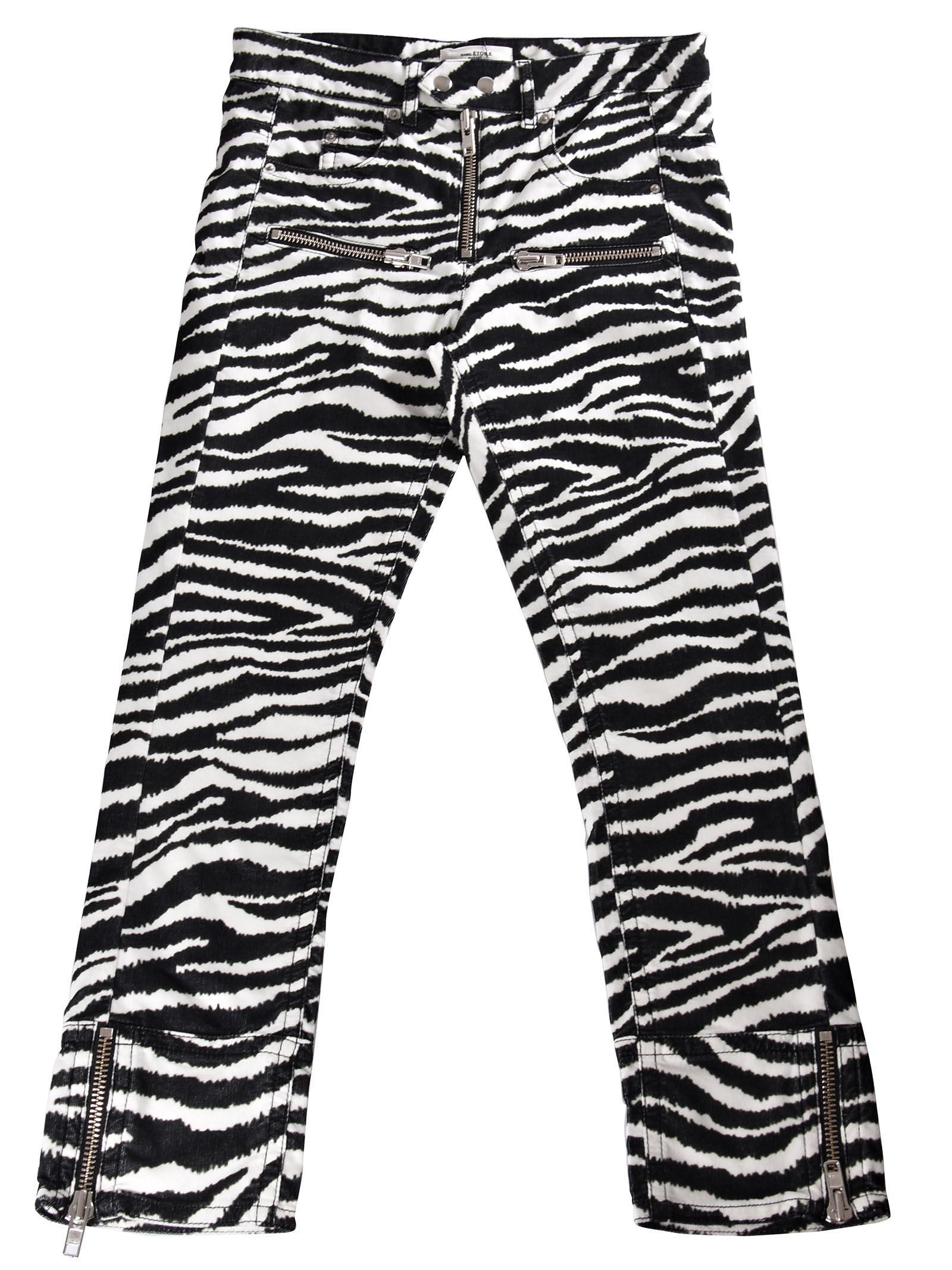 ace234eee242 Etoile Isabel Marant Isabel Marant ÉToile Black And White Alone Zebra Print  Cotton Trousers