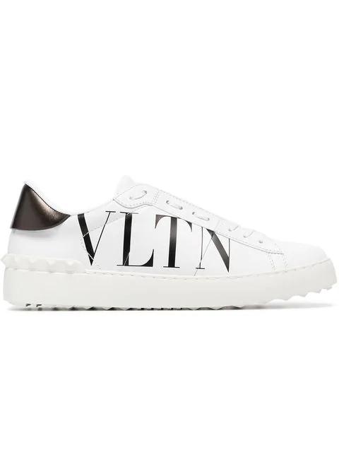 Valentino Garavani Pen White Leather Sneakers With Vltn Logo In A01 Bl/wh