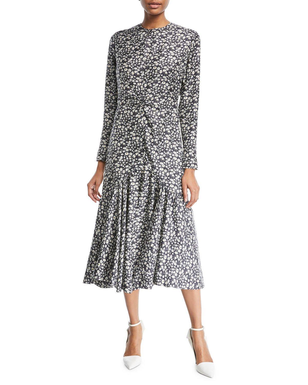 25de8fa08dd87f Calvin Klein 205W39Nyc Daisy-Print Silk Maxi Dress - Blk, Wht/Ylw In ...