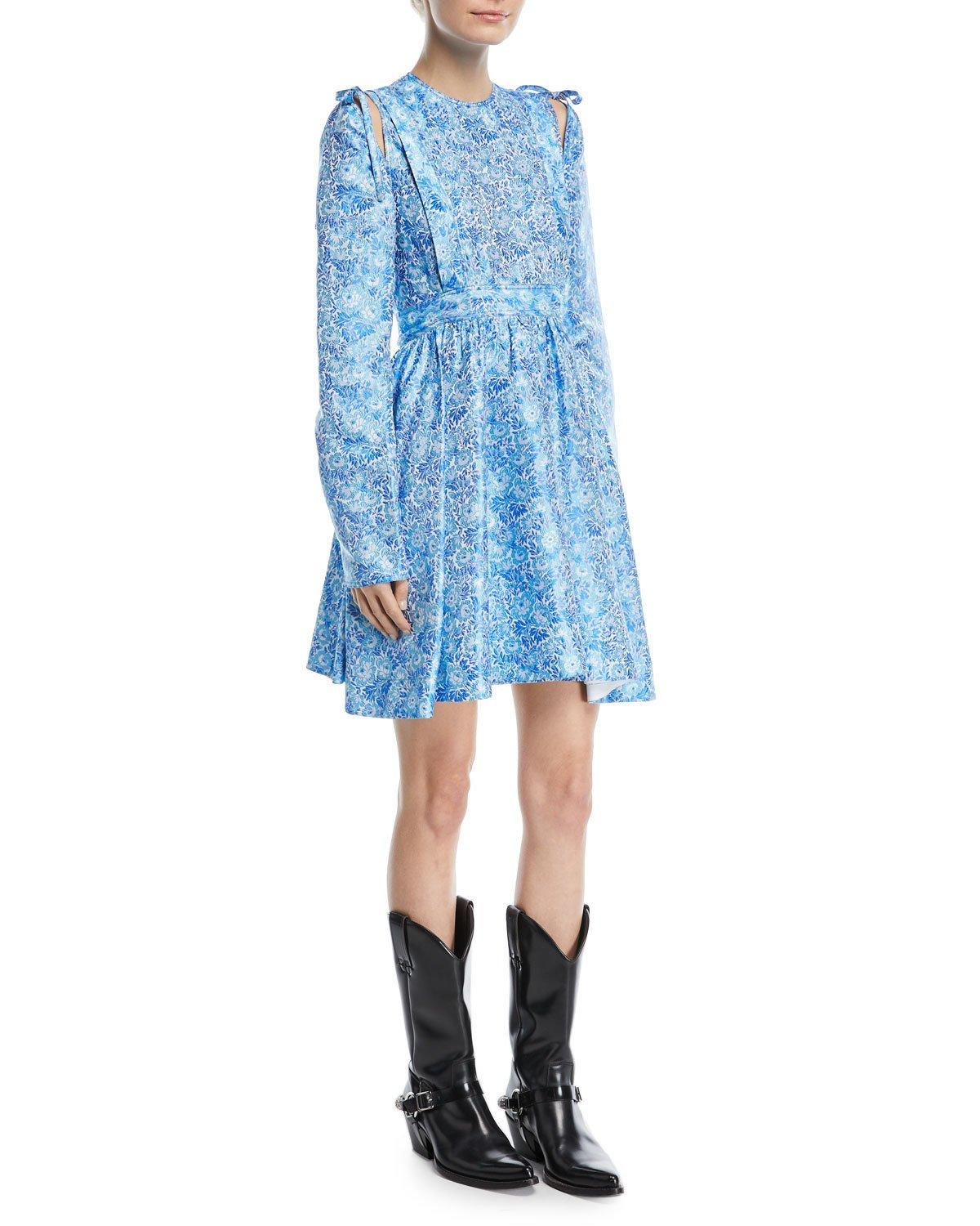 968083dd126 Calvin Klein 205W39Nyc Cold-Shoulder With Bow Floral-Jacquard Cocktail Dress  In Blue