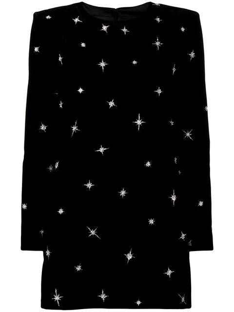 Saint Laurent Sequin Embroidered Star Dress In Black