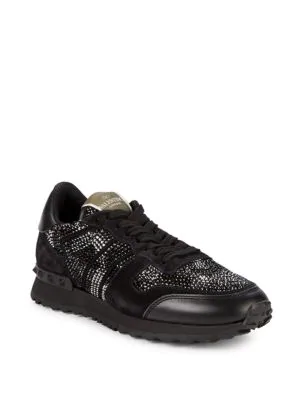 Valentino Textured Low-Top Sneakers In Black