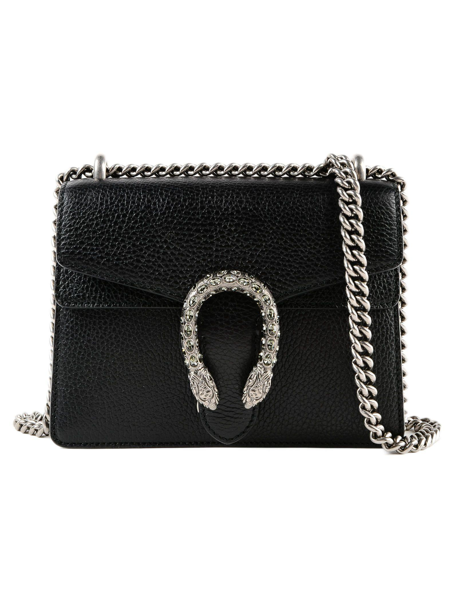 6dd8e73739d Gucci Dionysus Mini Textured-Leather Shoulder Bag In Black