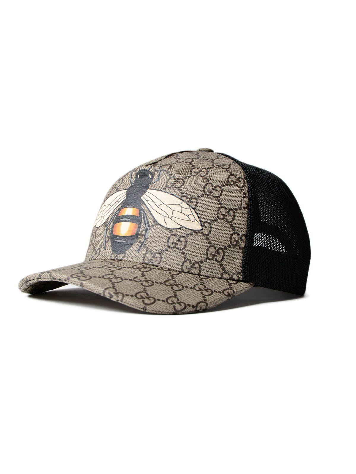 c0a18175f264ce Gucci Bee Coated Gg Canvas   Mesh Baseball Hat