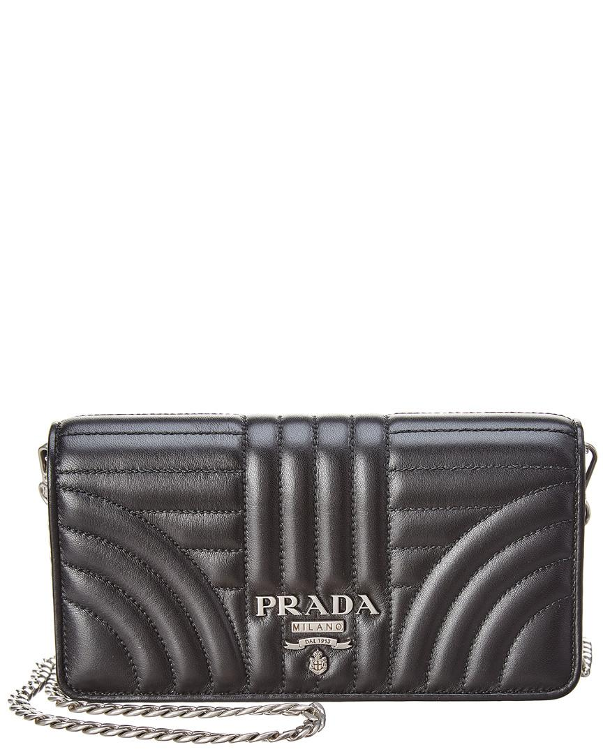 dc1a299e2a46cb Prada Diagramme Mini Impunture Quilted Leather Crossbody Wallet Bag In  Black. Gilt. 640Login to see price