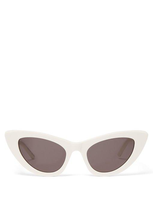 Saint Laurent Lily Cat-Eye Acetate Sunglasses, Ivory In White