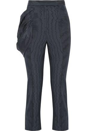 Rosie Assoulin Do The Bustle Silk And Wool-blend Moire Skinny Pants In Navy